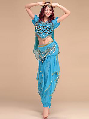 Dança do Ventre Roupa Mulheres Actuação Náilon Chinês / Elastano Pano 4 Peças Calças / Tiaras / Top / CintoTop M/L:40cm Pants M:90cm /