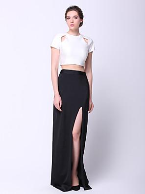 ts couture® formell klänning - två stycken plus storlek / nätt mantel / kolumn juvel golv längd Charmeuse med