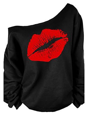 Vrouwen Sexy / Street chic T-shirt,Uitgaan Print Eén-schouder Lange mouw Rood / Wit Katoen Medium