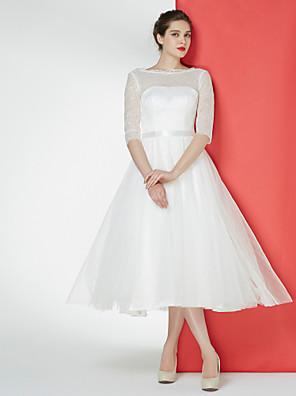 Lanting Bride® גזרת A שמלת כלה  באורך הקרסול סירה תחרה / טול עם תחרה
