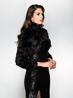 כורכת חתונה בולרו שרוול ארוך דמוי פרווה שחור חתונה / מסיבה / ערב צוואר גבוה פתח חזית