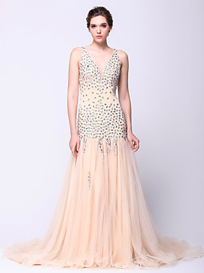 Serata formale Vestito Fasciante A V Strascico di corte Tulle con Perline