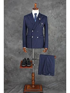 Suits Moderno Notch/ Paletó Transpassado 4 Butões Poliéster Xadrez Gingham 2 Peças Azul Escuro Lapela Reta Duas Pregas Azul EscuroDuas