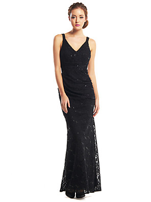 레이스와 TS couture® 공식적인 이브닝 드레스 트럼펫 / 인어 V 넥 발목 길이 레이스
