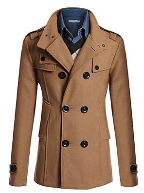 Men's Solid Casual / Work Trench coat,Polyester Long Sleeve-Black / Blue / Brown / Gray / Tan