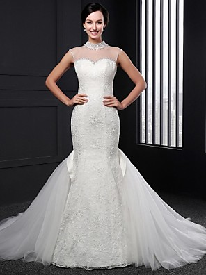Trumpet / Mermaid Wedding Dress Sweep / Brush Train High Neck Lace with Lace