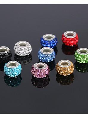 עגיל 5pcs כסף תכשיטי קסם חרוז סגסוגת אירופאית חרוז קריסטל צמיד שרשרת כושר (לשלוח 5 צבעים שונים)