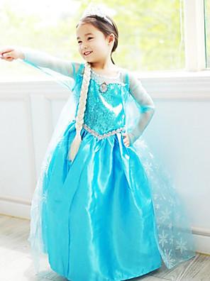 תחפושות קוספליי נסיכות / אגדה תחפושות משחק של דמויות מסרטים כחול אחיד שמלה האלווין (ליל כל הקדושים) / חג המולד / ראש השנה ילד שיפון