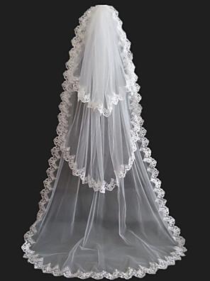 Véus de Noiva Três Camadas Véu Capela Borda com aplicação de Renda Tule Branco