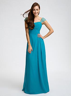 Lanting Bride® עד הריצפה שיפון שמלה לשושבינה - מעטפת \ עמוד רצועות עם חרוזים / סרט / בד בהצלבה / סלסולים