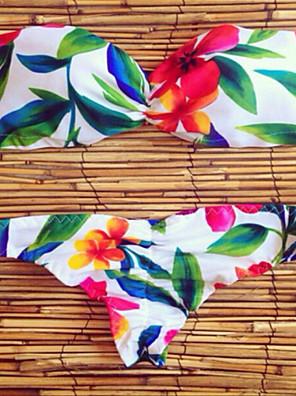 Polyester-Push-Up-Halter-Bikini-Bloemen-Vrouwen