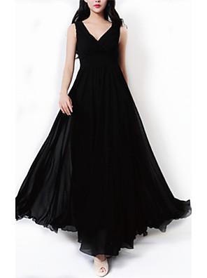 קיץ פוליאסטר שחור ללא שרוולים מקסי צווארון V אחיד פשוטה מסיבה\קוקטייל / מידות גדולות שמלה שחורה וקטנה / שיפון נשים,גיזרה גבוהה מיקרו-אלסטי