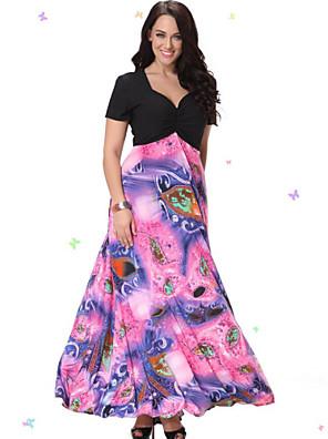 søde kurve kvinders strand plus size kjole, print / patchwork v hals midi kortærmet lyserød spandex / andre sommer