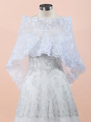 Bryllup Wraps Coats / Jakker Ærmeløs Blonde / Organza Hvid Bryllup / Fest & Aften Nemt-af-skulderen Blonde Skjult Lås