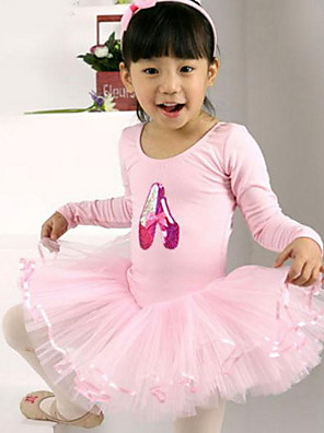 """בלט שמלות בגדי ריקוד ילדים ביצועים כותנה / טול קפלים חלק 1 שרוול קצר שמלות inch: M:17.3"""",L:18.5"""",XL:19.5"""",XXL:20.5"""""""