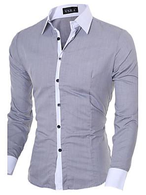 אנשיו של חולצה חלק / טלאים כותנה / פוליאסטר שרוול ארוך יום יומי / עבודה / רשמי שחור / כחול / ורוד / לבן / אפור