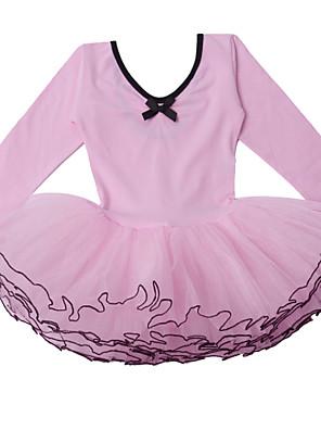 """בלט שמלות בגדי ריקוד ילדים ביצועים כותנה / טול שכבות מדורגות חלק 1 שרוול ארוך שמלות inch:M:17.3"""",L:18.5"""",XL:19.5"""",XXL:20.5"""""""