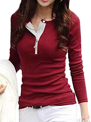 Women's Casual Solid Color Slim Fitting T-Shirt,Long Sleeve Plus Size