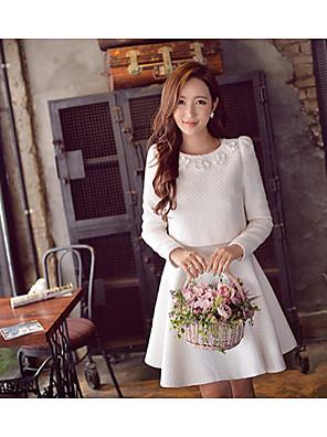 Women's Solid White Set , Feminine Type Slim Round Neck Long Sleeve Suit Dress