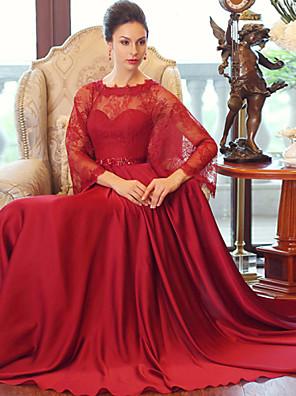 포멀 이브닝 드레스 볼 드레스 스쿱 바닥 길이 새틴 쉬폰 와 크리스탈 디테일 / 허리끈/리본