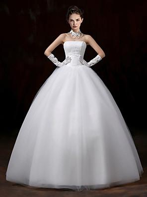 볼 드레스 웨딩 드레스 바닥 길이 끈없는 스타일 레이스 / 튤 와