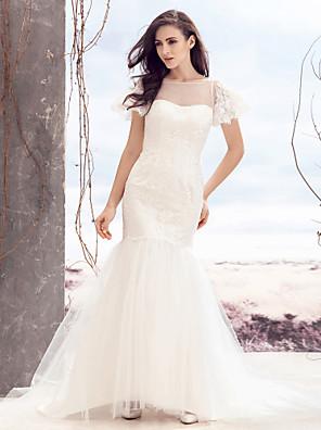 lanting 신부 적합& 플레어 웨딩 드레스 - 청소 / 브러쉬 기차 BATEAU 레이스 / 얇은 명주 그물