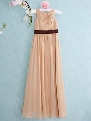 Floor-length Chiffon Junior Bridesmaid Dress Sheath / Column Scoop with Draping