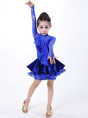 Latinské tance Šaty Dětské Výkon Krajka Krajka Jeden díl Dlouhé rukávy Přírodní Šaty S:52cm  M:60cm  L:62cm  XL:68cm  2XL:72cm