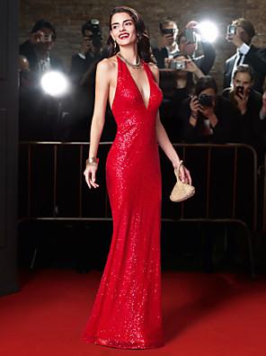 ts couture® שמלת ערב רשמית עם נצנצים מהרצפה אורך קולר נדן / טור עם פאייטים