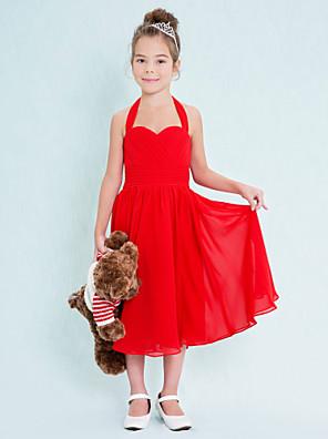 Ниже колена Шифон Подростковое праздничное платье А-силуэт Хальтер с Перекрещивание / Рюши/сборки