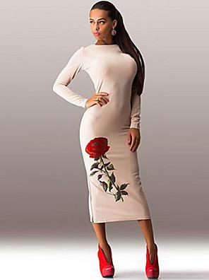 כותנה / אקריליק / פוליאסטר / ניילון מידי צווארון עגול פרחוני שמלה צינור מועדונים / קז'ואל נשים