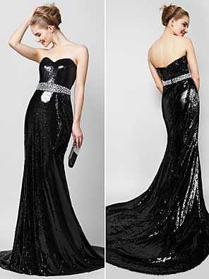 TS Couture® Formal Evening Dress Trumpet / Mermaid Sweetheart Court Train Sequined with Crystal Detailing / Sequins
