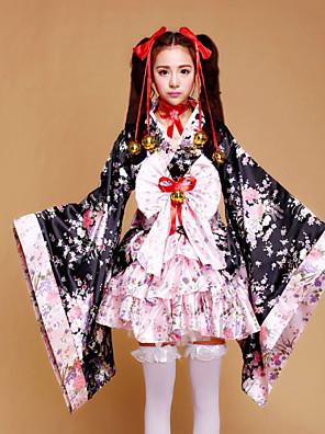 Jednodílné/Šaty Sweet Lolita / Wa Lolita Lolita Cosplay Lolita šaty Růžová Patchwork / Tisk Dlouhé rukávy Medium Length Šaty Pro Dámské
