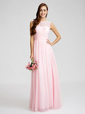 Lanting Bride® Na zem Šifón Šaty pro družičky Pouzdrové Bateau s Nabírání / Šerpa / Stuha / Sklady