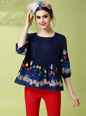 Vintage Ethnic Fashion Women 's Plus Size Embroidery Patchwork Pleat Blouse Shirt Top