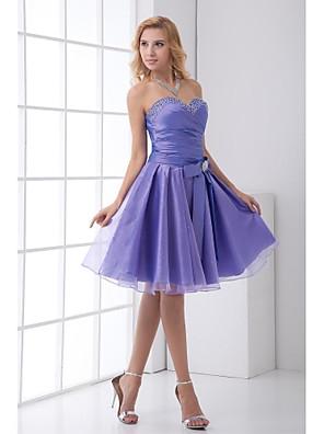 Lanting Bride® Ke kolenům Taft Šaty pro družičky A-Linie Srdce s Mašle / Křišťály