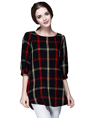 Dámské Barevné bloky Běžné/Denní Vintage / Jednoduché Tričko Polyester Kulatý Poloviční délka rukávu Červená Střední