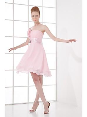 Lanting Bride® Até os Joelhos Chiffon Vestido de Madrinha - Linha A Mula Manca com Detalhes em Cristal / Pregueado
