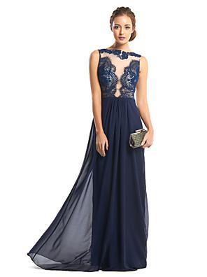 Formal Evening Dress Sheath / Column Bateau Floor-length Chiffon / Lace with Lace