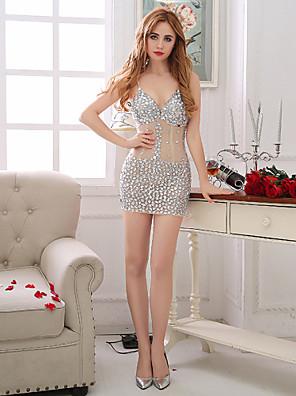 Коктейльная вечеринка Платье Футляр V-образный вырез Короткое / мини Тюль с Бусины