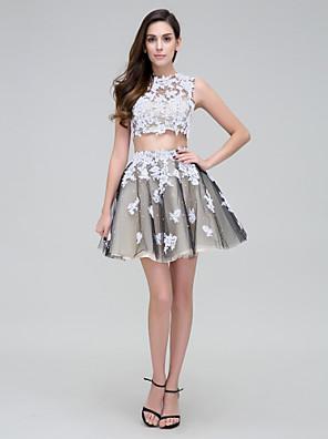 TS couture® 칵테일 파티 드레스 - 아플리케 / 구슬 / 레이스 두 조각 볼 가운 높은 목 짧은 / 미니 얇은 명주 그물
