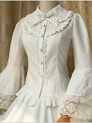 Sweet Lolita Blouse/Shirt Long Sleeve Medium Length White Lolita Dress Cotton