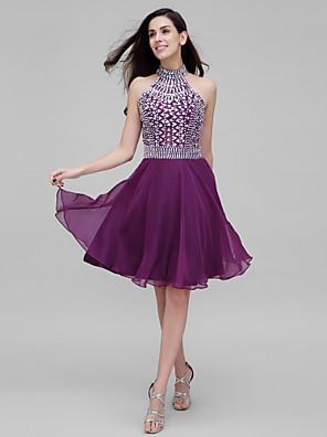 ts couture® Kleid mit Perlen / Kristall eine Online-Stehkragen knielangen Chiffon Detaillierung