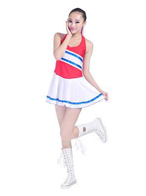 Fantasias para Cheerleader Roupa Mulheres Actuação / Treino Algodão / Poliéster Sem Mangas Natural 75CM
