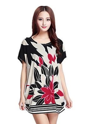 Blommig Kortärmad T-shirt Kvinnors Rund hals Rayon