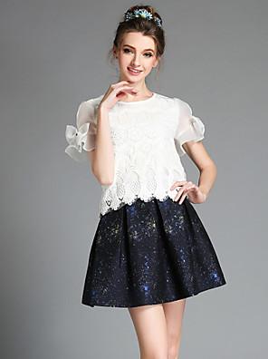 aofuli קיץ נשי אופנה משובחות בתוספת חולצת אורגנזה חרוז תחרת גודל + סט שתי הדפסת חתיכת חצאית