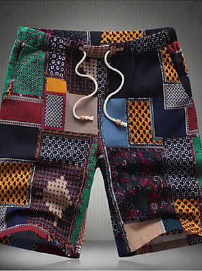 Men's Print Casual Shorts,Cotton Multi-color