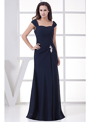 A-line Mother of the Bride Dress Floor-length Chiffon with Appliques / Side Draping