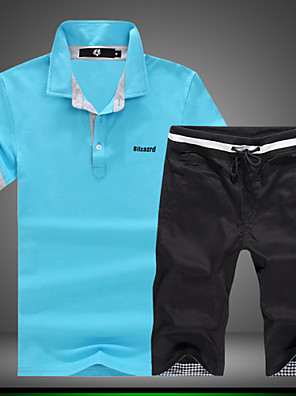 Masculino Sets activewear Esporte Estampado Algodão / Elastano Manga Curta Masculino