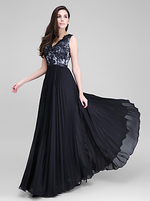 TS Couture® Formal Evening Dress A-line V-neck Floor-length Chiffon / Lace with Lace / Sash / Ribbon